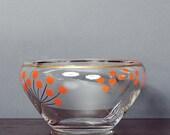 Vintage 60's Glass Orange Flower Motif Gold Rimmed Bowl
