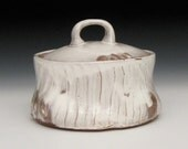 terra cotta white slipped lidded bowl casserole dish