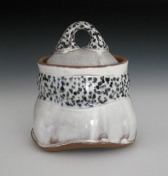 white slip terra cotta jar with black spots