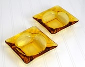 Amber Glass Ashtray by Anchor Hocking, SET OF 2 - Gorgeous Retro Yellow / Orange Heavy Glass Squares, Perfect for Home Decor