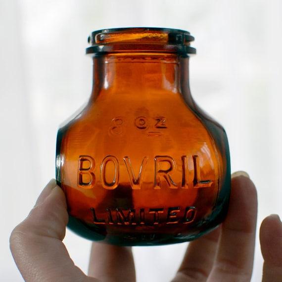 Amber Glass Bovril Bottle 8 Oz Antique Bud Vase For
