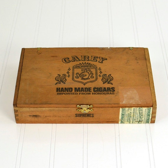 Cigar Box - Carey Hand Made Cigars Imported From Honduras, 1971 - Wooden Box with Hinges & Latch for Home Decor or Treasure Stash