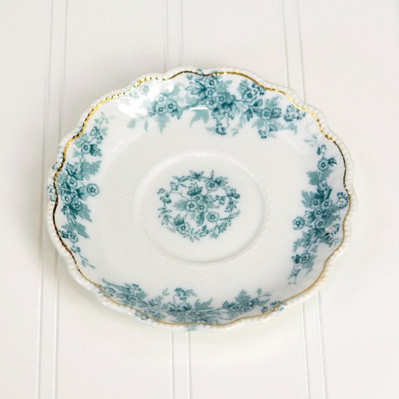 Eileen Pattern by Grindley Co. Transferware Saucer - Blue Flowers on White, Gold Trim, Scalloped Edge - Made in England