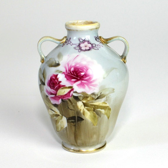 Morimura Nippon Urn / Vase, Authentic Hand Painted Jug Style, Pink Roses, Gold Gilded Handles - Beautiful Vintage Home Decor or Collection