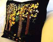 Silky ribbon embroidered pillow case (cover) with a splendid forest - handmade by my mother :)