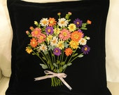 Pillow Case with silky ribbon embroidered gorgeous bouquet handmade by my mother