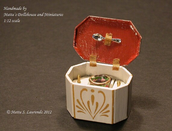 Dollhouse Tea Caddy - 1:12  scale miniature - Octagonal made of wood -  Grey/Gold  (HH2)