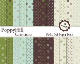 INSTANT DOWNLOAD - Polka Dot Digital Paper Pack - For Personal and Commercial Use - Digital Designs
