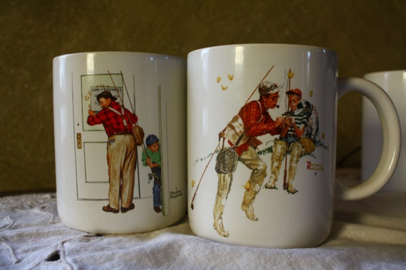 Four Vintage Norman Rockwell Mugs with Fishing Scenes