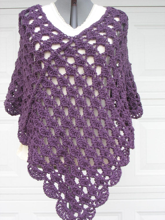 Plus Size Ladies Crochet Poncho Shell Stitch In Plum