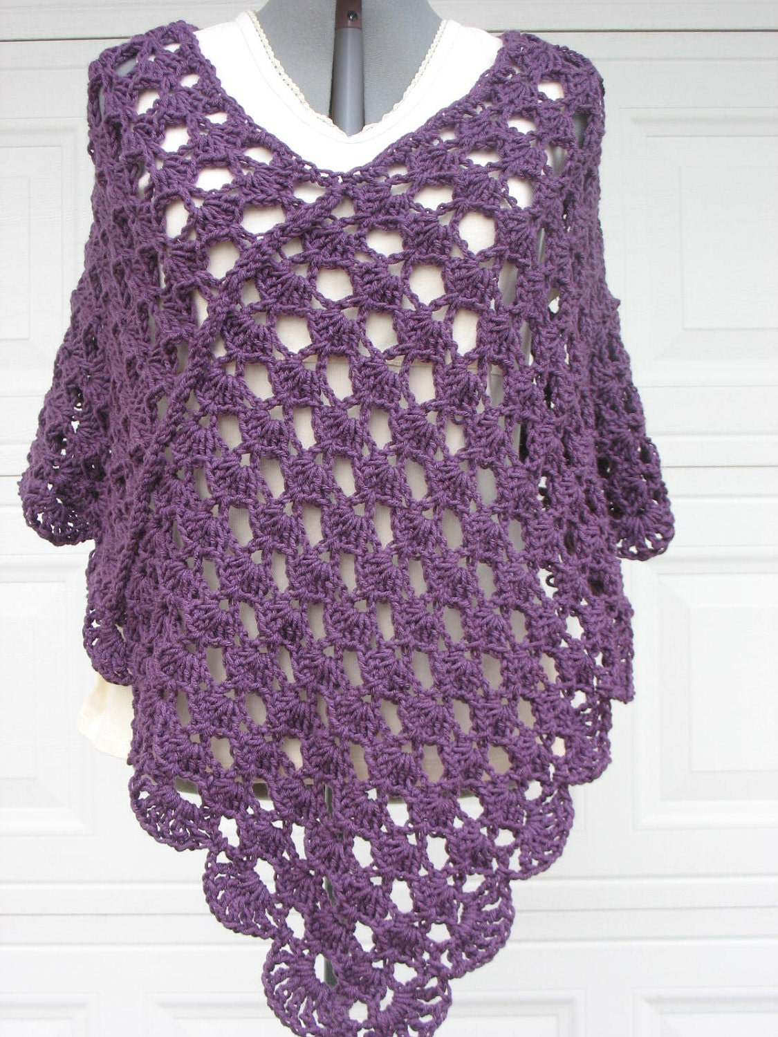 Free Crochet Patterns For Plus Size : Plus Size Ladies Crochet Poncho Shell Stitch in Plum