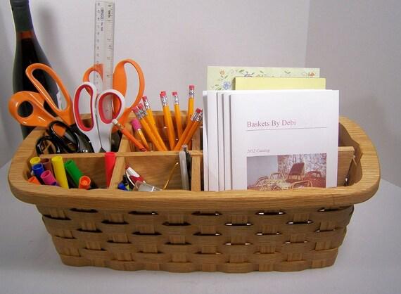 office organizer desk accessory oak basket