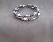 2x Wrap Memory Wire Stone Bracelet