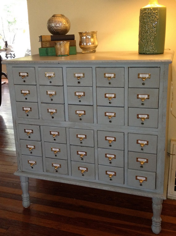 Vintage Library Card Catalog wine cabinet by cocolagitane
