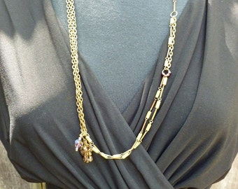 Sidewalker necklace - asymmetrical upcycled vintage chain and andalusite