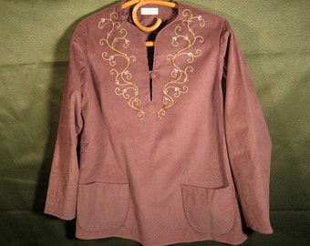 Hand-embroidered Tunic in Mauve Fine-wale Corduroy