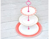 Pink Tulle: Pink Cake Stand, Tiered Cupcake Display, Rockabilly Gift Set, Pink Party, Baby Shower Decorations