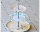 Odille: Vintage Cake Stand, Cupcake Display, Cotton Candy Pink, Aqua, Retro Table Display,  Gift Set
