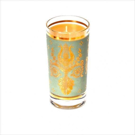 100% Pure Beeswax Candle in Vintage Barware, Sage Green Fleur de Lis Mod Barware