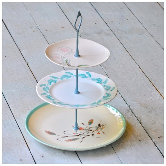 Odille: Vintage Cake Stand, Cupcake Display, Cotton Candy Pink, Aqua, Retro Table Display,  Gift Set