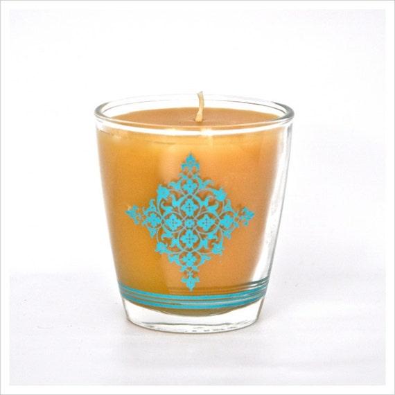 100% Pure Beeswax Candle in Vintage Barware, Aqua Mod Barware