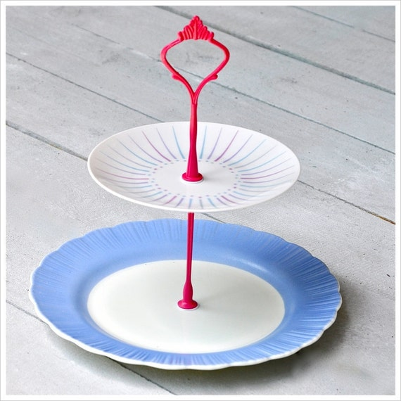 Sprinkles: Cake Stand, 2 Tier, Tea Stand, Periwinkle, Hot Pink, Milk Glass and Mod China
