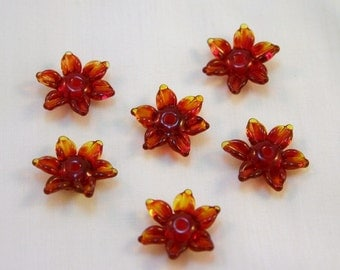 Red Blossom Beads set of 5