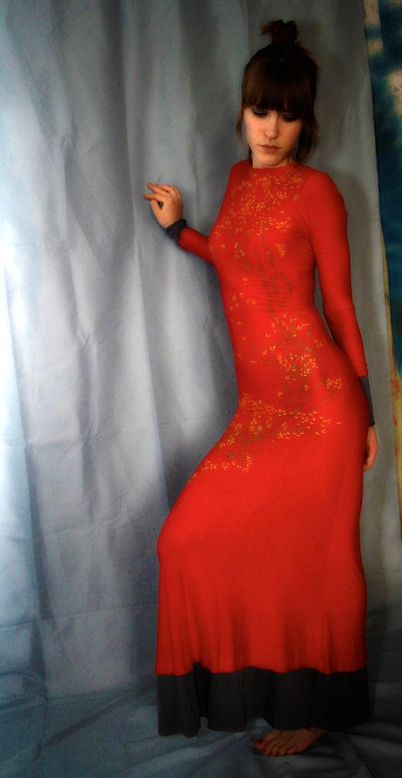 Long Red dress, soft jersey, perfect fit, glamorous feminine OOAK