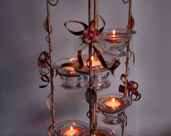 Votives With Roses and Golden Ribbons Co Ordinating Piece Available