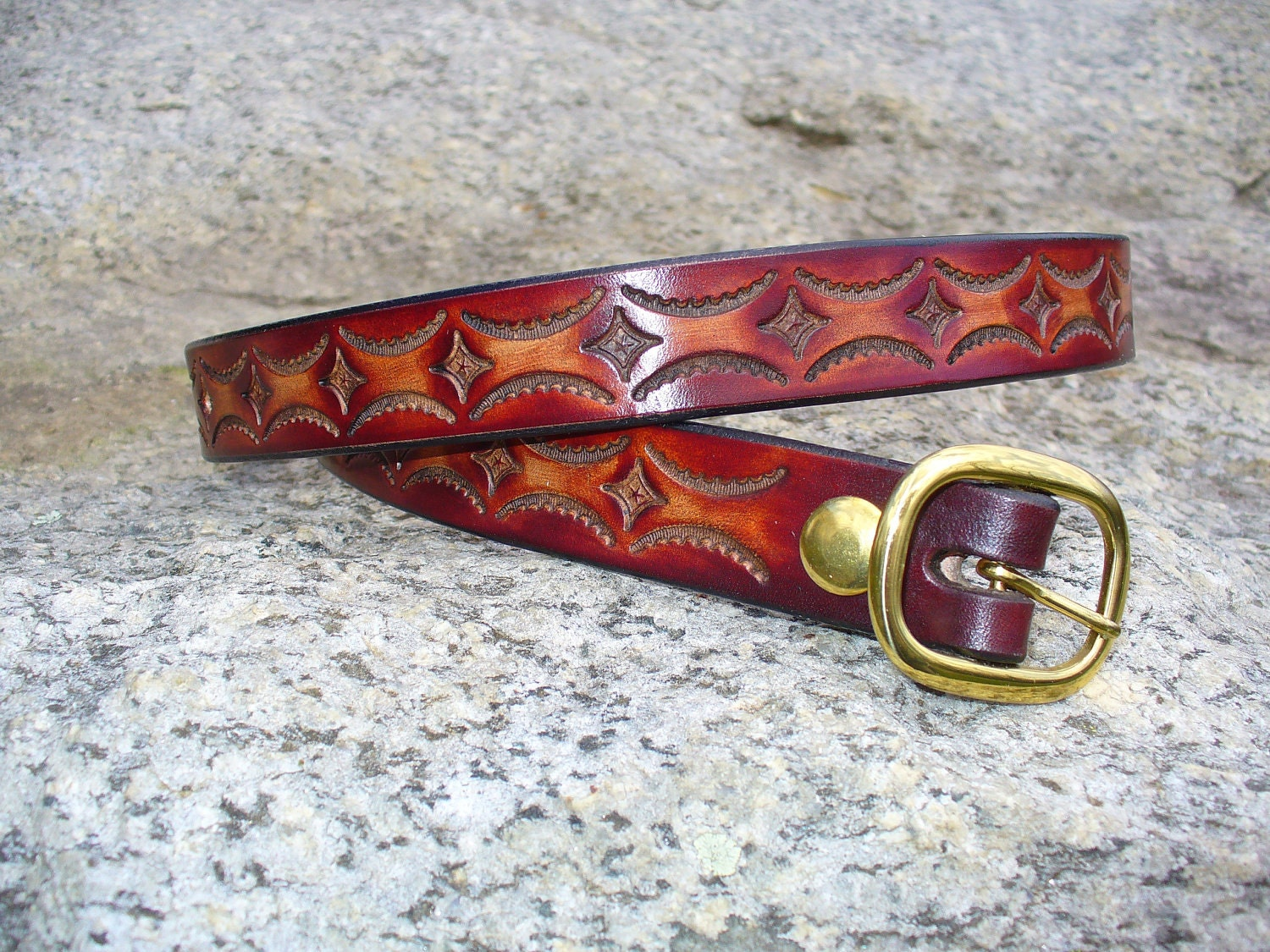 1 tooled leather belt