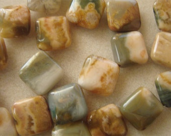 Earthy Madagascar Agate 14mm Diagonal Square Pillow Beads Strand