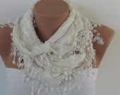 WHITE CREAM  Scarf with fringe. Triangle Shawl Scarf. For 4 seasons. For her. Summer Shawl. Pashmina Scarf
