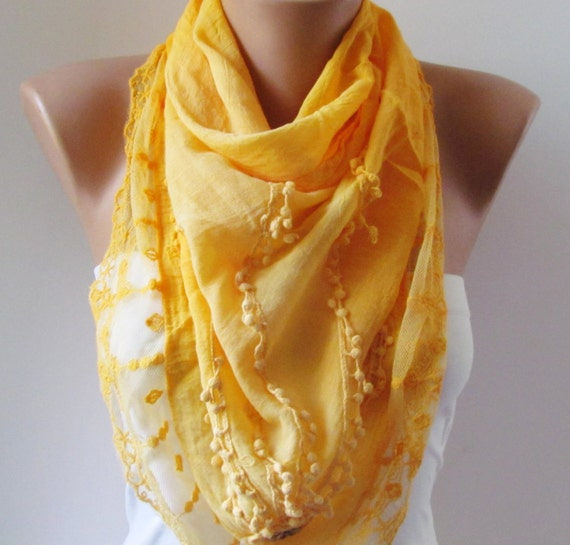YELLOW Scarf with fringe and lace. Triangle Shawl Scarf.Lace scarf. For 4 seasons. For her. Summer Shawl. Pashmina Scarf
