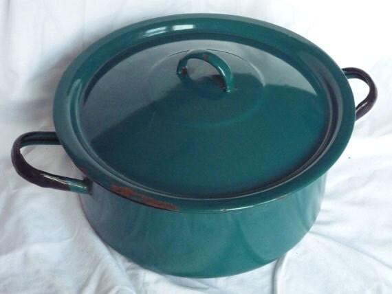 Vintage French Enamelware Casserole Pot