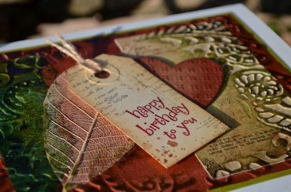 Original Art Leaf Heart Birthday Greeting Card, OOAK card, Chalk and Slate cards