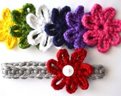Rainbow Crocheted Grey Headband and Flower Set // Red // Yellow // Green // White // Blue // Purple // Pink
