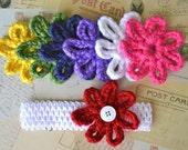 Rainbow Crocheted White Waffle Headband and Flower Set // Red // Yellow // Green // White // Blue // Purple // Pink