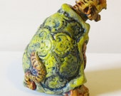 Reserved for Baby Luna (5) Turtle-Tiger Art Doll, Strange ugly snarling fellow, Altered Toy, Hybrid Creature