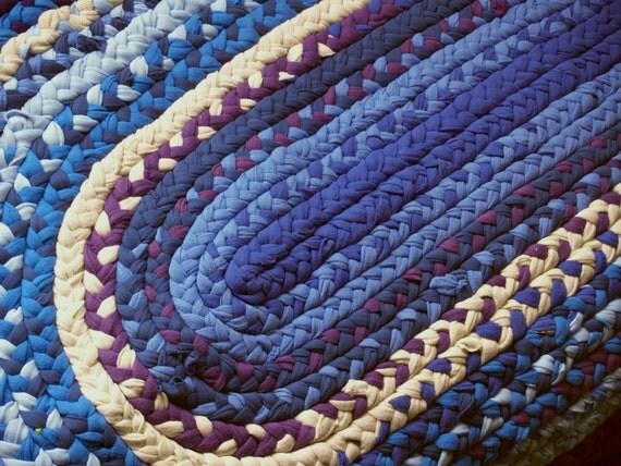 Braided Upcycled Rag Rug, Handmade, Blue, Teal, Purple,Oval