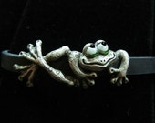 "Whimsical Silver Frog Bracelet ""Bliss"" On Silcone Rubber With Steel Clasp"