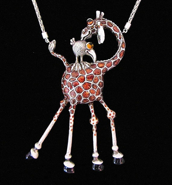 """Whimsical Silver Giraffe & Bird Necklace """" You Scratch My Back, I'll Scratch Yours"""" On Silver Chain"""