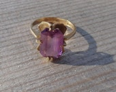 1970s Amethyst and 10k Gold Ring (Claw Setting)