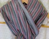 Red Gray Navy Narrow Stripe Cotton with Metallic Thread Scarf Shawl Wrap