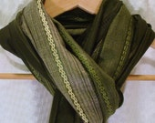 Olive Green Wide Stripe Cotton Scarf Shawl