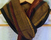 Charcoal Black Olive Green Rust Red and Gold Wide Stripe Cotton with Metallic Thread Scarf Shawl Wrap