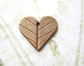 Heart pendant, Bronze heart - Leaf skeleton