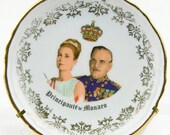 Vintage Collectors Item Principauté de Monaco Porcelaine d'art Monaco Princesse Grace and Prince Rainier