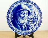 Vintage - Boch La Louviere Made in Belgium - Delft Blue - Wall hanging plate - collectible - Sailor man