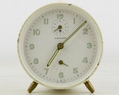 Vintage - White  Alarm clock  made in Germany -1950s - Junghans