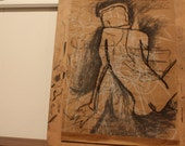 """Original charcoal drawing abstract black, white, and brown outline of a nude female, 2007 - Written on You (20 x 17"""")"""